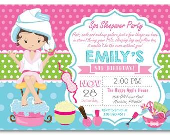Spa party invitation etsy spa sleepover invitation sleepover spa party invitation girl slumber birthday party invitation printable digital filmwisefo