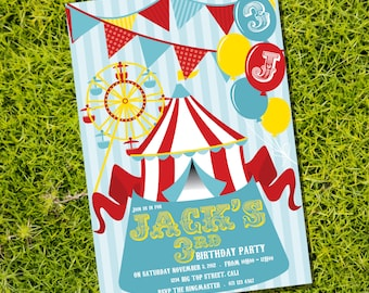 Carnival Party Theme - Instantly Downloadable and Editable File - Personalize and Print at home with Adobe Reader