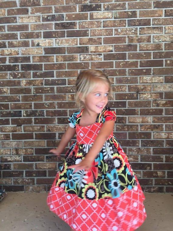 Girls Twirling Sundress, Handmade Dress, Colorful Print Dress, Baby Dress, Toddler Dress,Tween Dress , Easter Dress,Party Dress,Cotton Dress