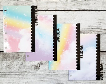 Planner Dividers -  Bright Rainbow Scalloped Dividers - Planner Accessory - Pocket, Field Notes, Personal, B6 Slim, Standard, A5
