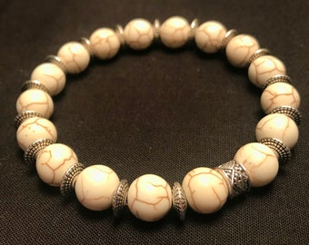White Howlite in 10mm Beads w/ Antique Silver   details