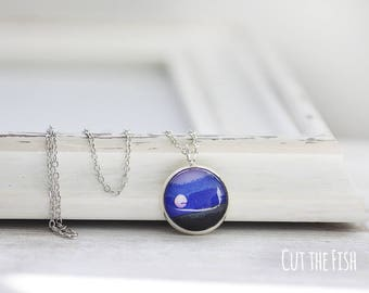 Full Moon Pendant - Blue Necklace - Full Moon Necklace - Moon Jewelry - Art Jewelry - Jewelry - Gift for Her (0-34Ns)