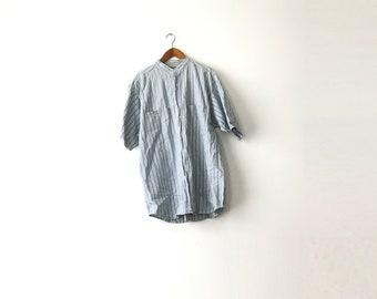 Collarless Striped Shirt - Large / Collarless Shirt / Striped Shirt / Striped Collarless Shirt / Band Collar / 90s Shirt / Collar Less / 90s
