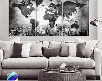 Art canvas print panels by boxcolors by boxcolors on etsy large 30x 60 3 panels art canvas print original wonders of the world old map black white gumiabroncs Gallery