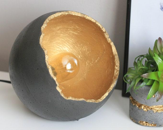 Concrete Sphere Table Lamp with Edison Bulb   Concrete Light   Urban   Industrial