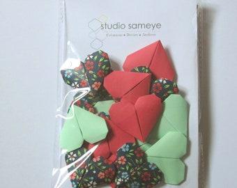 Cake topper Garland mini deco cake origami heart flowers pink green