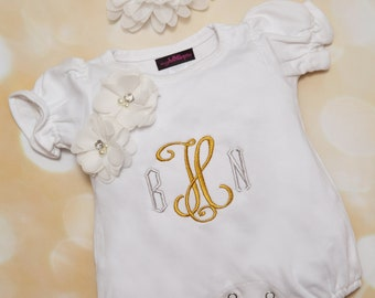 Baby Girl White Bubble Romper Summer Monogram Romper Set Embroidered Infant One Piece Set with Matching Headband