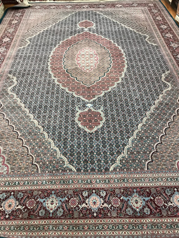 """10' x 13'10"""" Sino Chinese Persian Fish Design Oriental Rug - Hand Made - Wool & Silk"""