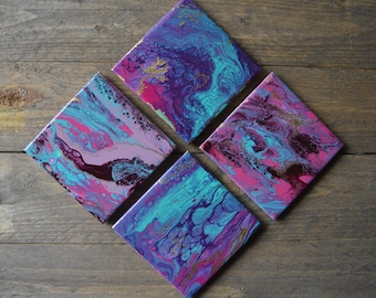 Mermaid Gold Fluid Art Coaster Set