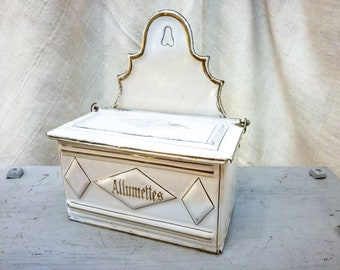 Antique French enameled allumettes match box container white & gilded particulars early 1900's, antique french enameled matchbox container