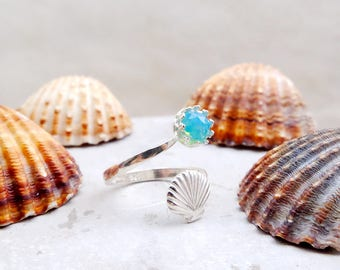Blue opal ring, 925 ring, gift for woman, seashell ring, ocean ring, mermaid ring, mothers day gift, dainty ring, adjustable ring, boho ring