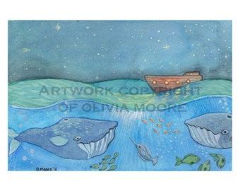 "Nautical Nursery Art - Original Watercolor Painting - Nautical Wall Art - 5""x7"""