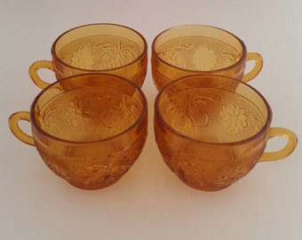 Tiara Exclusives Amber Sandwich Coffee Mugs/Tiara/Indiana Glass/Amber Tiara/Amber Indiana Glass/Amber Glass Mugs/Amber Mugs/Set of 4.