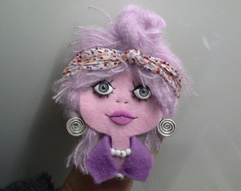 Felt Brooch Girl Portrait Art Doll Monica Swirl