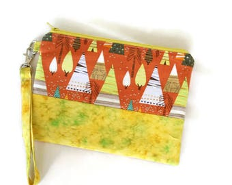 Orange and yellow zippered iphone wristlet. Whimsical trees clutch purse. Gift for her under 30.