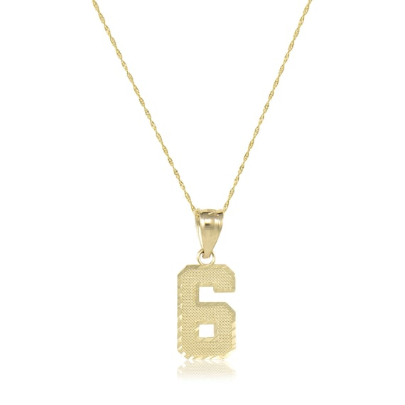 10k solid yellow gold number pendant singapore chain necklace aloadofball Image collections