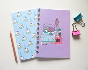 Cats & Books Illustration  - Blank A5 Notebooks - Pack of 2 Journals - Cactus Pattern