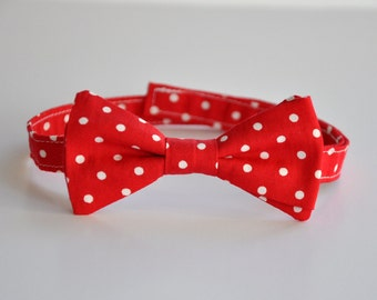 Boy's Bow Tie, Boys Bowtie, Boys Tie, Red Bow Tie, Polka Dot Bow Tie, Christmas, Ring Bearer, Bowtie, Bow Tie, Holiday Tie, Christmas Outfit