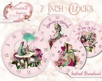 Alice in Wonderland Clocks - Printable Clocks, Digital Download, INSTANT DOWNLOAD Collage sheet , Mad Hatter Tea Party