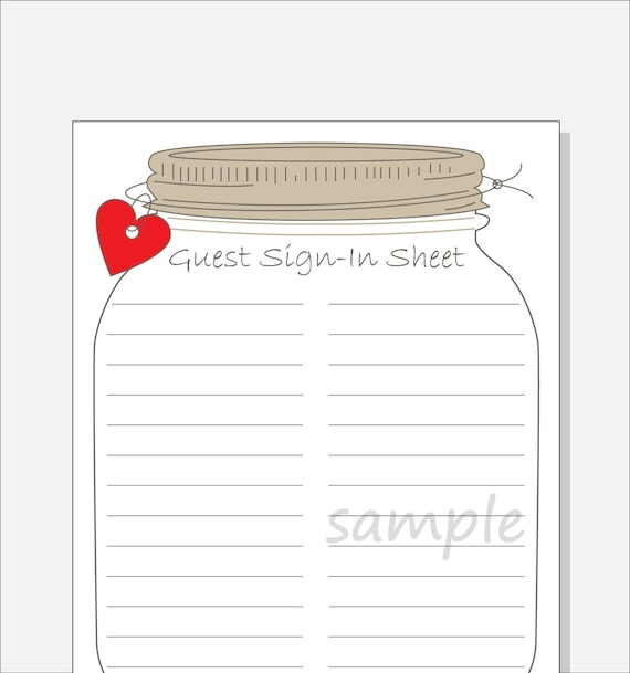 Bridal Shower Guest Sign In Sheet Printable Diy Mason Jar