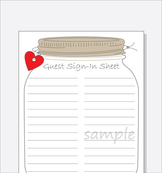 Bridal Shower Guest Sign In Sheet Printable DIY   Mason Jar Design With  Red, Purple Or Pink Heart