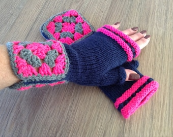 Handknitted fingerless gloves, mittens, wrist warmers, winter accessories, gift