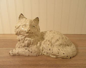 FREE SHIPPING....Cast iron Hubley white cat door stop- chippy paint, solid, beautiful and weighty- collectible, vintage