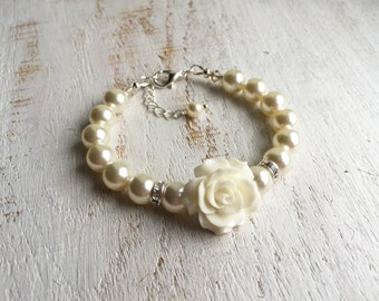Ivory Flower Girl Gift Ideas, Ivory Flower Girl Bracelet, Ivory Wedding Bracelet, Ivory Girl Birthday Gift Idea, Swarovski Pearl Bracelet
