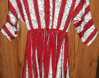 Dress, Shirtwaist By Top Act Sz 8 Red White Career Dress, Dolman 3/4 Sleeves, 100% Polyester Dressy Woman's  Dress,  Fall  Dress