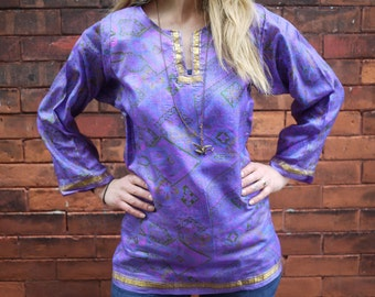 Vintage Silk Sari Long Sleeve Purple Paisley Shirt Top Plus Size Shirt Retro Shirt Eco Shirt Floral Printed Top Scoop Neck Boho Shirt 