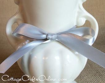 "Satin Ribbon, 5/8"" Double Face Silver Grey, FIFTY YARD ROLL, Offray Narrow Satin #3 Double Sided Satin, 2205-12 Platinum Wedding Ribbon"