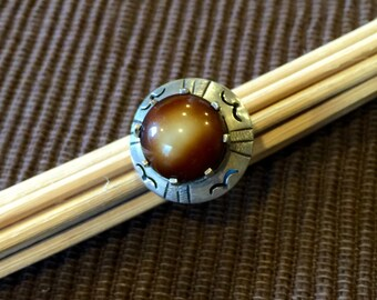 Sterling Silver Unique Saucer Ring with Brown Stone (st - 1301)