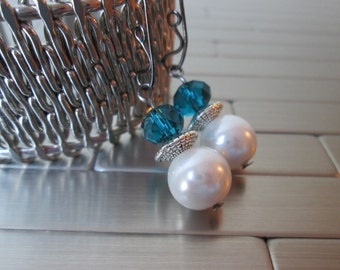 White Pearl and Teal Rondelle Earrings