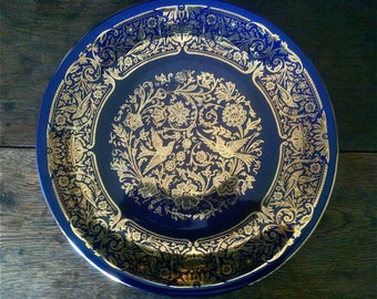 Vintage Dark Blue Gold Decor Lunch Dinner Plate circa 1960-70's / English Shop