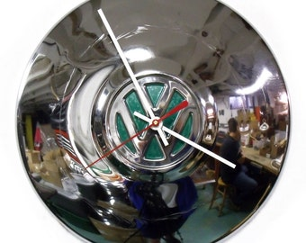 1960's VW Wall Clock - 1970's Volkswagen Bug Hubcap Clock - Volkswagon Chrome Clock with Green Center