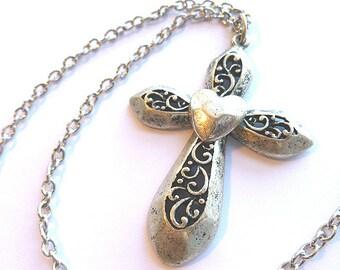 Silvertone HEART LOVE Cross, Vintage Openwork Filigree Cross with Center Heart, Love Silvertone Cross & Neck Chain, Silver Cross Necklce
