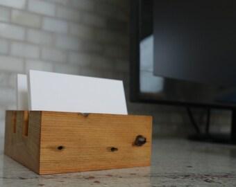 Wood Business Card Holder, Desktop business card holder, Desk/Office Display, Reclaimed Wood, Office Gift, Unique, Rustic