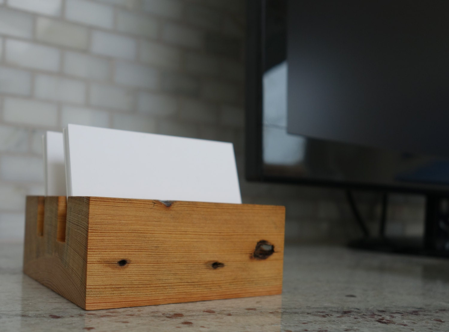 Wood Business Card Holder Desktop business card holder