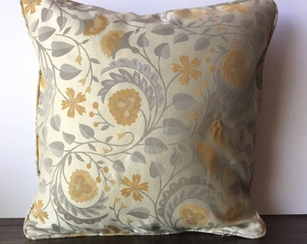 Pearl Beige pillow cover with sliver orange floral and leaf print 18X18