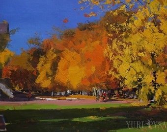 Impressionist painting, landscape oil painting, golden trees painting autumn original artwork, plein air painting
