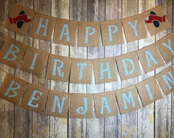 Personalized Burlap Banner, Personalized Birthday Banner, Personalized Airplane Banner, Personalized Happy Birthday Banner, Airplane Banner