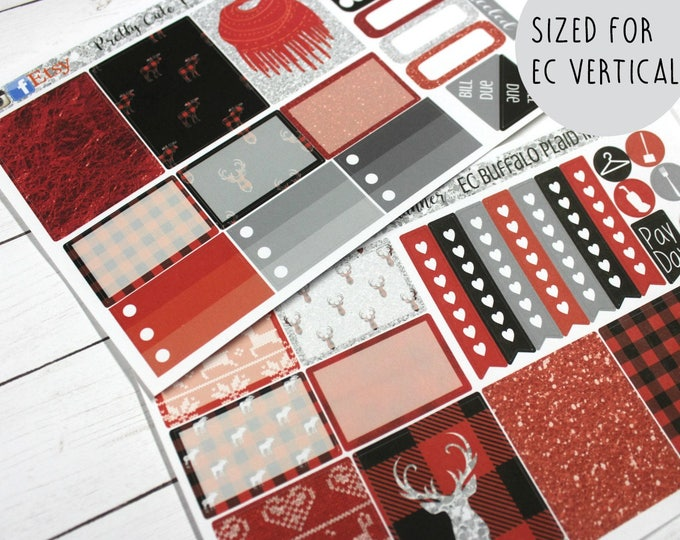 Planner Stickers - Weekly Planner stickers - Erin Condren Life Planner - Buffalo Plaid - Christmas Planner Stickers- EC Buffalo Plaid