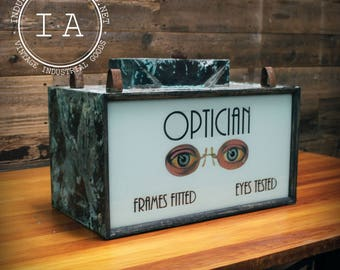 Vintage Optician Lighted Trade Sign Optometrist