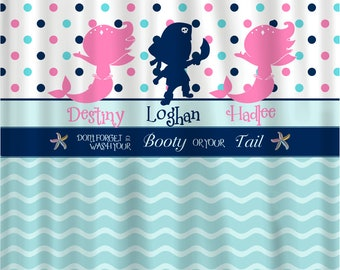 Pirate & Mermaid Shared Shower Curtain -Hot Pink, Navy, Sea Blue and White Combination - Novelty Saying- 3 characters