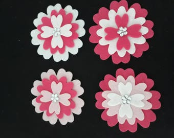 Flowers -  Pink assortment, pack of 4 with a little Sparkle.