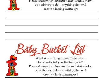 Sesame Street Themed Baby Bucket List Baby Shower Game