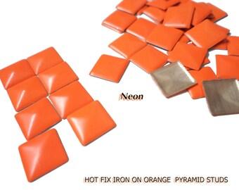 DIY Studs - 120 PCS 7 mm Orange Neon Square Pyramid Studs Hot fix Iron On Glue On