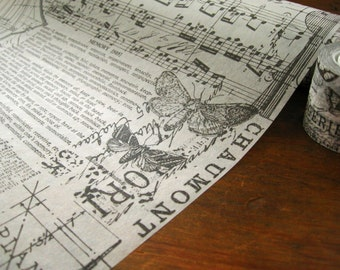 Black and White Old Dictionary, Butterflies, Music Notes, Vintage Script Tissue Paper Wrap