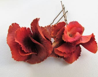 1 x Rust hydrangea hair pin, wedding hair pins, hydrangea hair clips, flower hair pins, flower hair grips, fall hair pin, brown hair clip