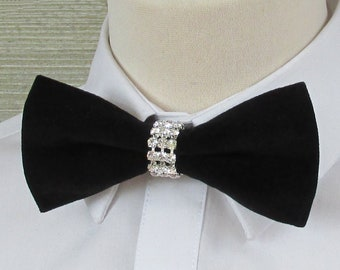 Black Velvet Luxury Bow Tie with Diamante & Silver Band